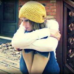 Slouchy Beanie Crochet Yellow