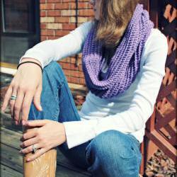Infinity Scarf Crochet Purple Wool